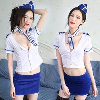 性感弹力空姐女警诱惑制服角色扮演套装 4件套