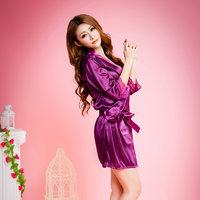 蕾丝花边开衫仿丝绸柔滑沐浴罩衫睡裙套装 3件套