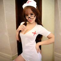深V紧身性感大露背小护士装制服扮演